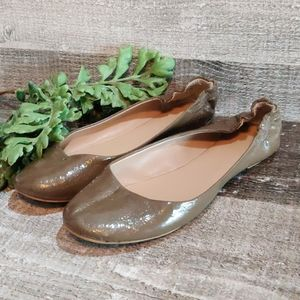 Mossimo taupe brown patent ballet flat shoes